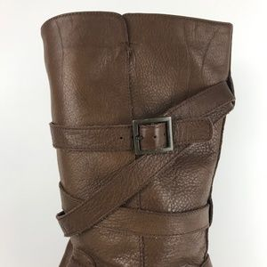 46b09eabb6d UGG Jardin Boots Buckle Platform Heels Brown 11